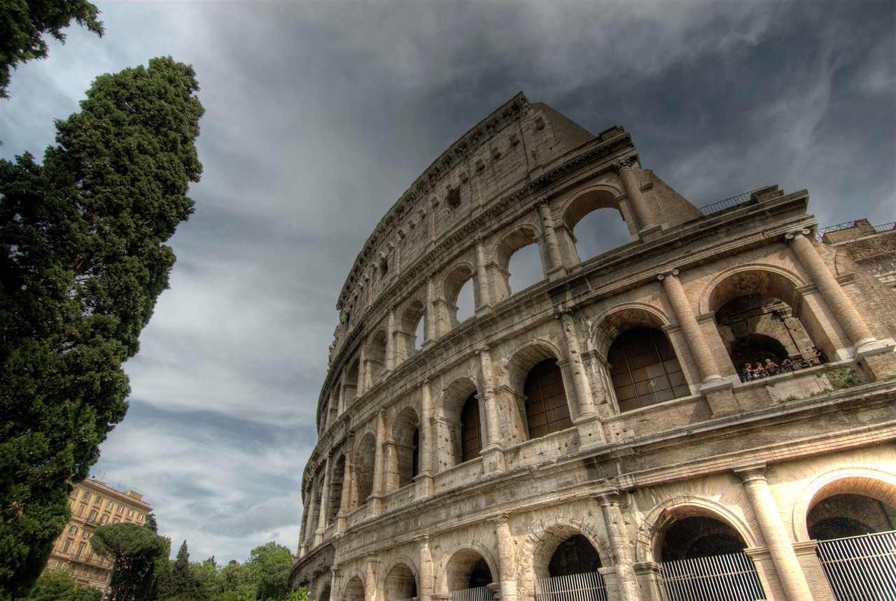 Shot of the Colosseum from outside - Rome, Italy
