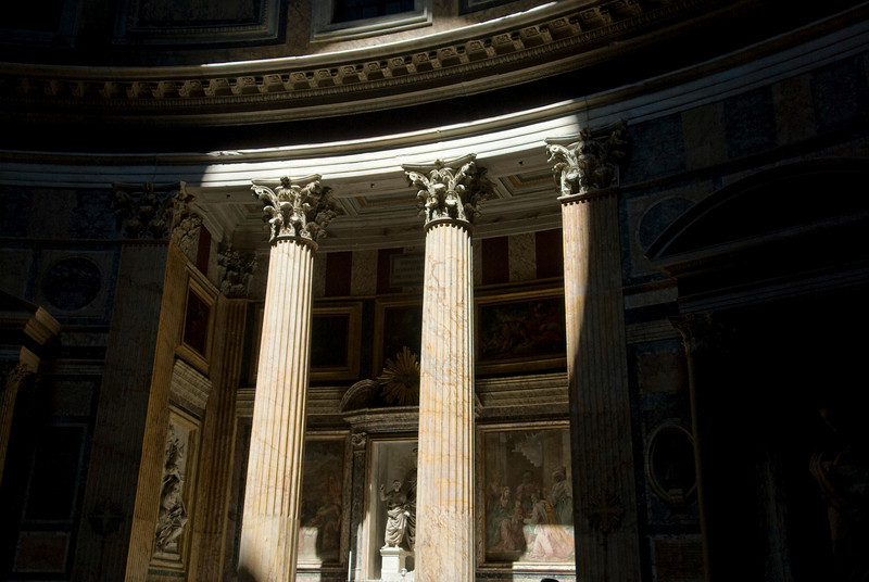 The pillars at the Pantheon in Rome, Italy