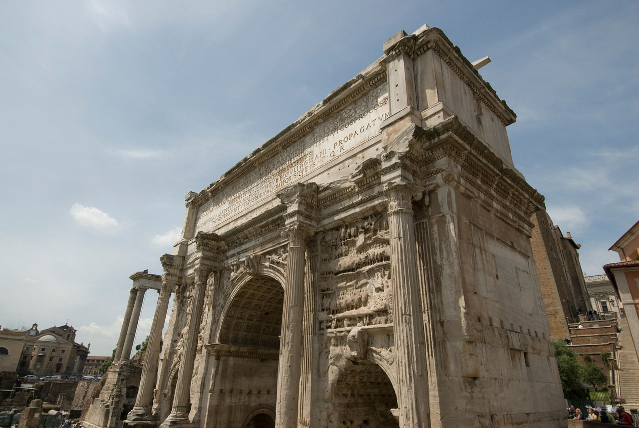 Ruins of an arch at Roman Forum in Rome, Italy