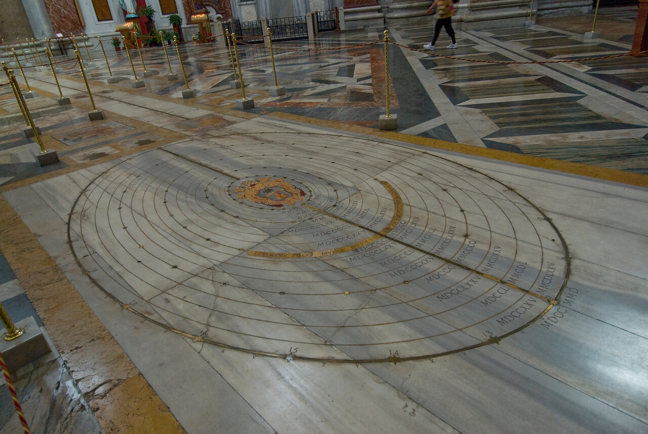 The solar system at the floor of St. Mary of the Angels and Martyrs in Rome, Italy