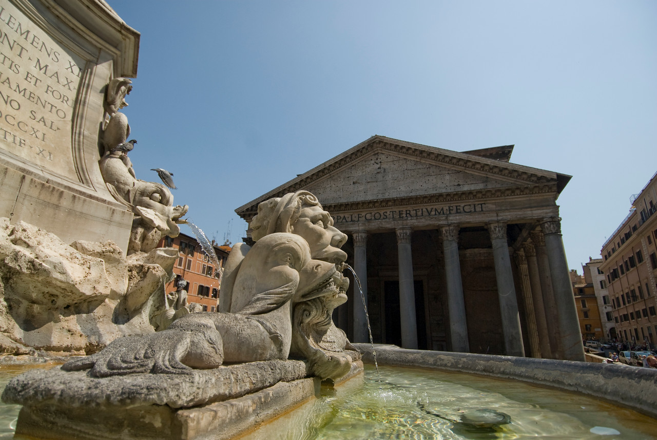 Water fountain in front of Pantheon in Rome, Italy