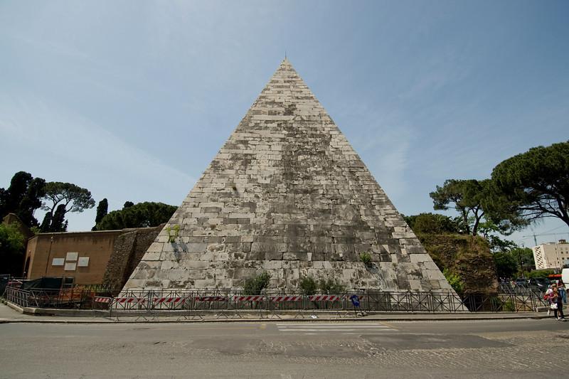 The Pyramid of Cestius of Rome, Italy