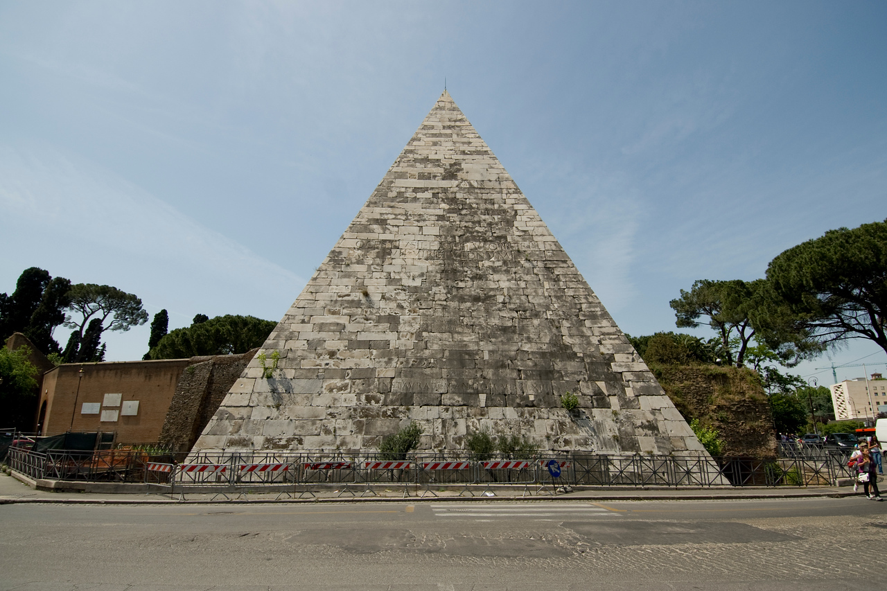 The Pyramid of Cestius of Rome, Italy