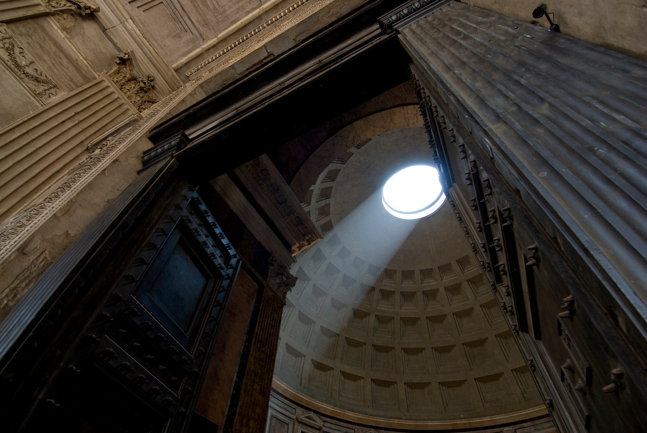 Sunlight streaking through the dome in Pantheon - Rome, Italy