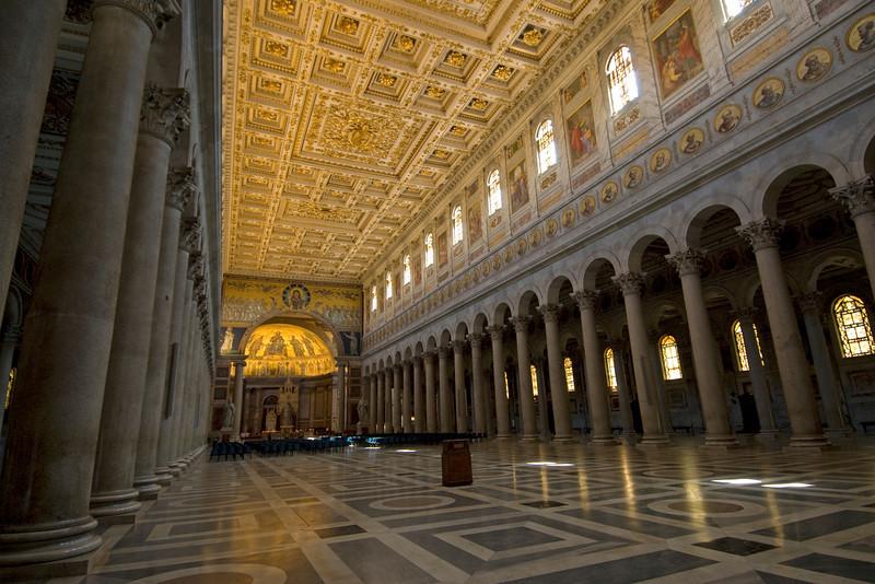 Hallway and pillars inside St. Paul's Basilica in Rome, Italy