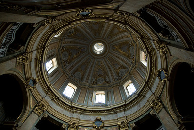 Architectural details of the roof dome in Basilica of St. Mary of the Angels and the Martyrs - Rome, Italy