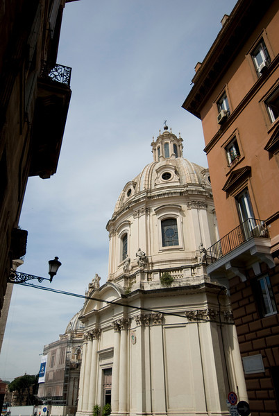 View of Basilica of St. Mary of the Angels and the Martyrs from a street corner - Rome, Italy