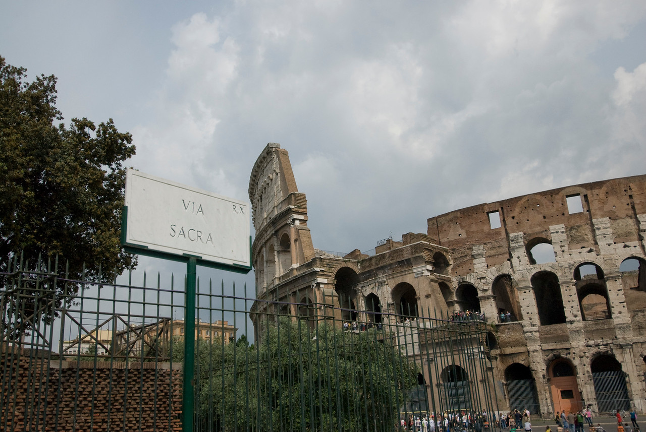 Sign near the Colosseum in Rome, Italy