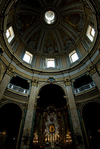 Looking up the dome inside Basilica of St. Mary of the Angels and the Martyrs - Rome, Italy