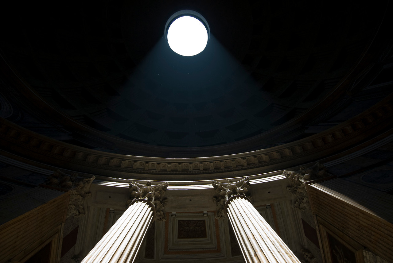 Looking up the pillars in the Pantheon - Rome, Italy