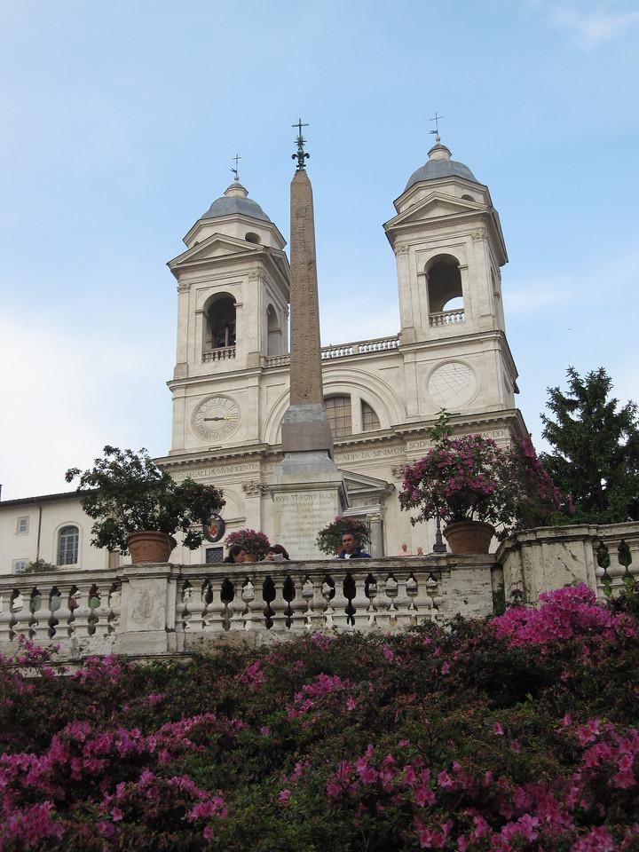 The The church of the Santissima Trinità dei Monti facade in Rome, Italy