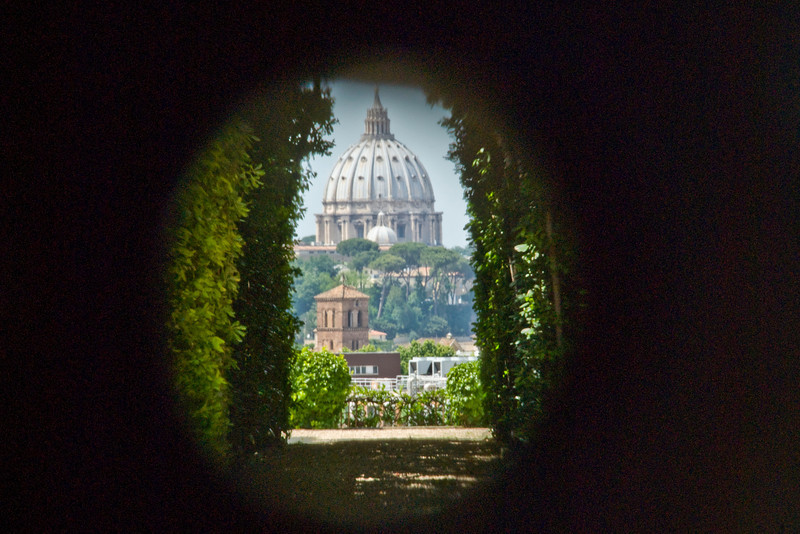 The St. Peter's Basilica dome as seen through keyhole - Rome, Italu