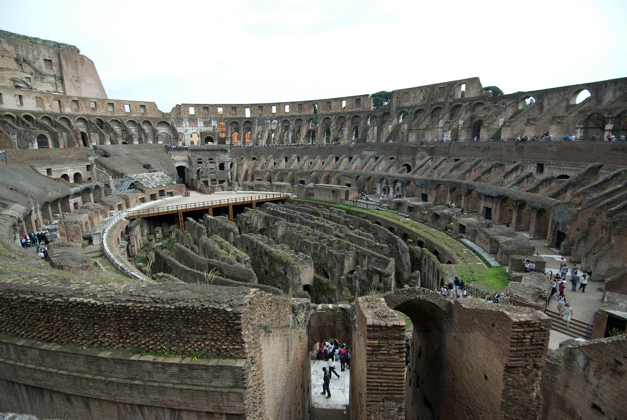 Wide shot of the view inside the Colosseum in Rome, Italy