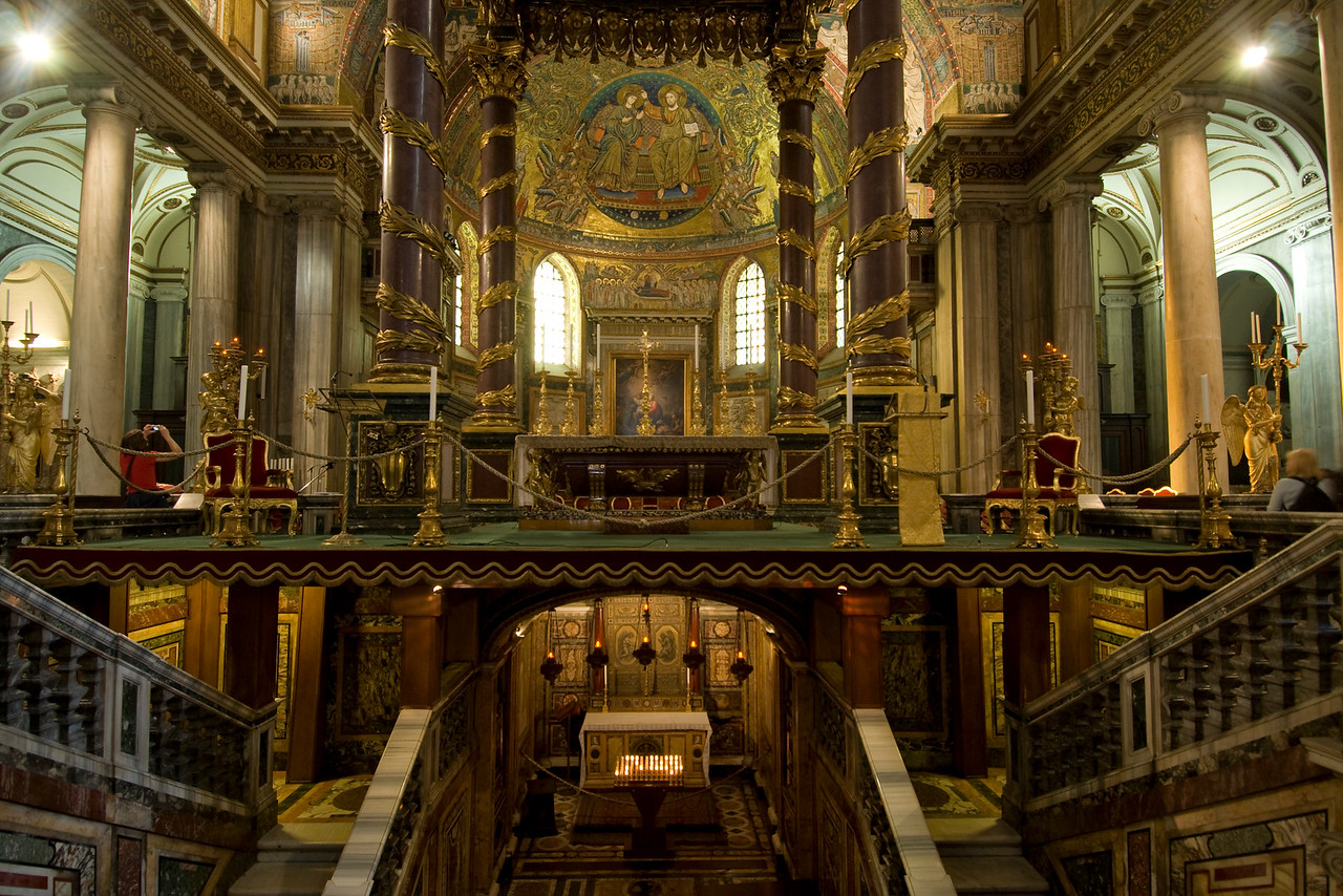 The altar at Basilica of Saint Lawrence outside the Walls in Rome, Italy