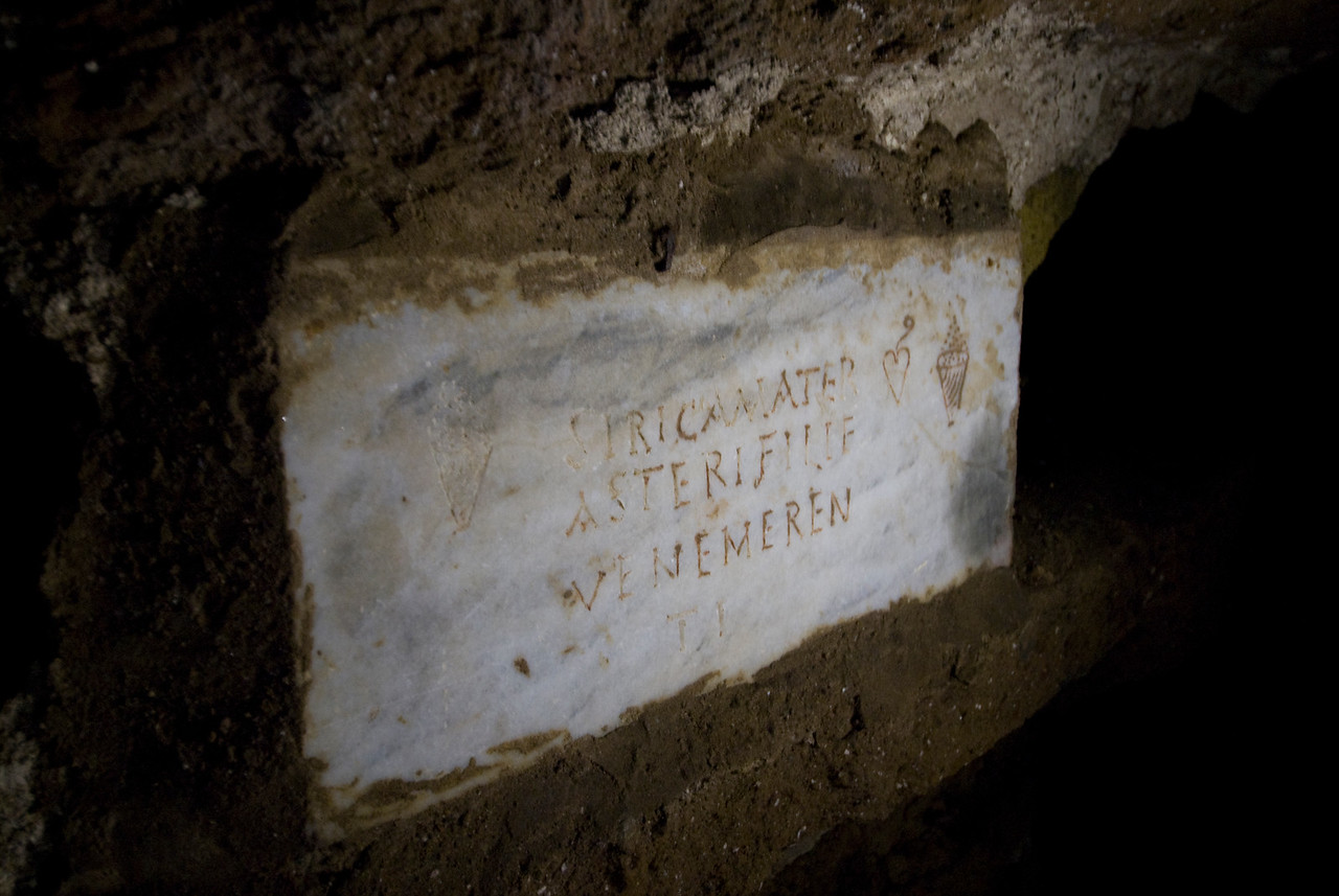 Ancient writings on an archaeological site in Rome, Italy