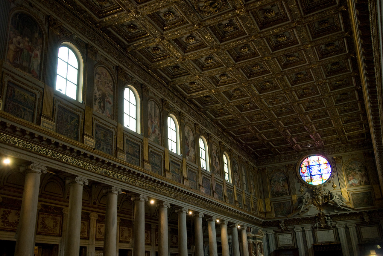 Details inside Basilica of Saint Lawrence outside the Walls in Rome, Italy