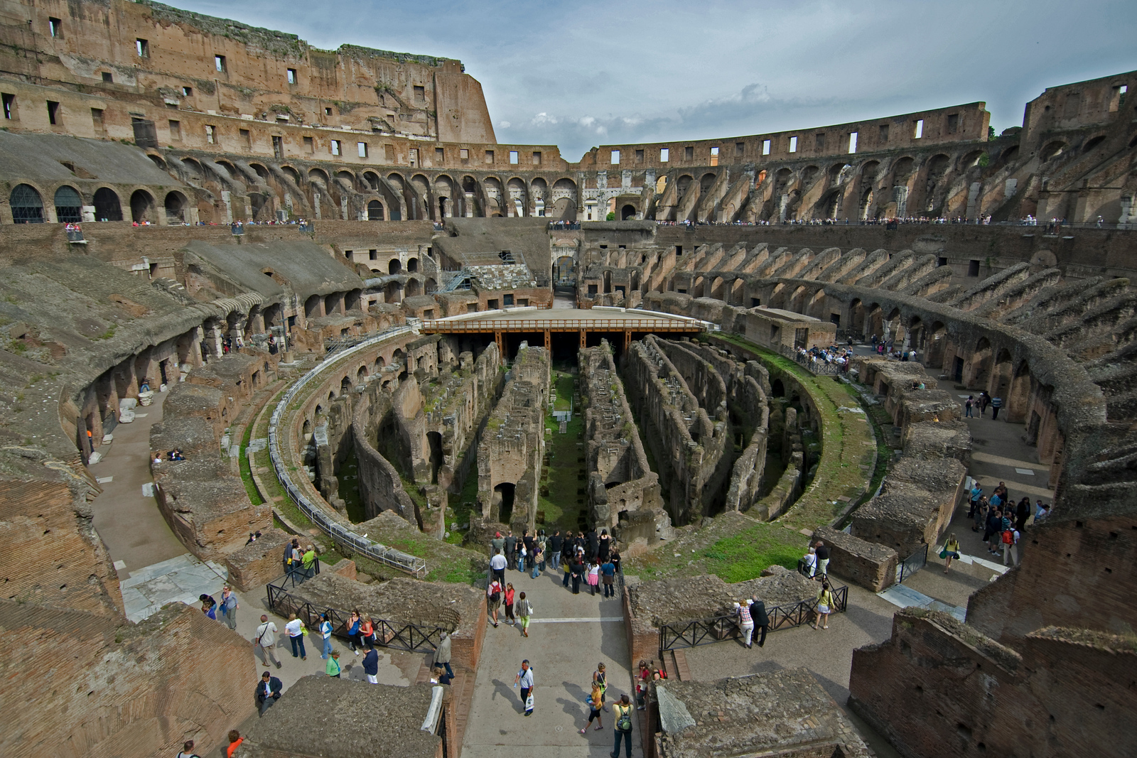 View of the ruins inside Colosseum in Rome, Italy