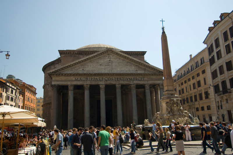 Tourists outside the Pantheon in Rome, Italy