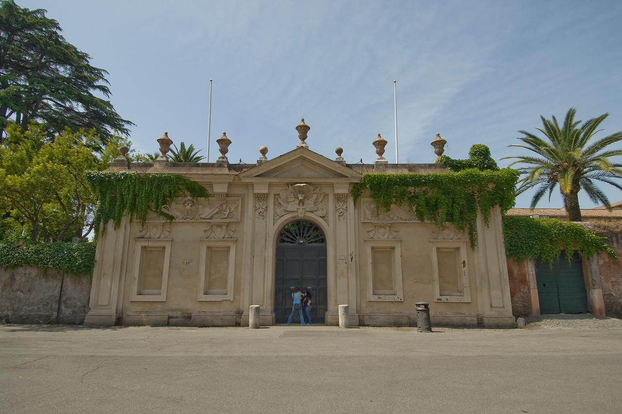The gate at Villa del Priorato di Malta in Rome, Italy