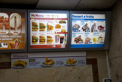 Menu selection at McDonald's in Rome, Italy