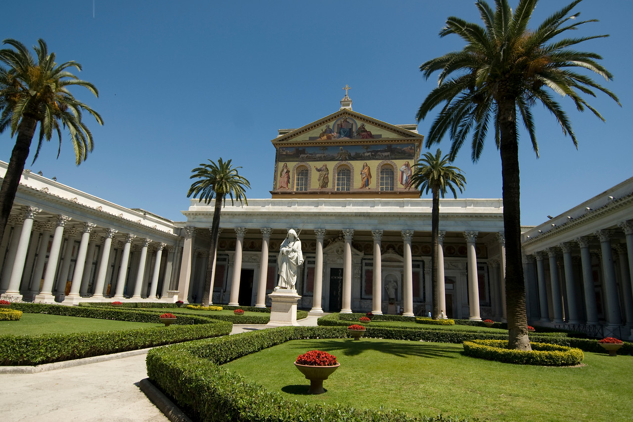 Garden outside St. Paul's Basilica in Rome, Italy