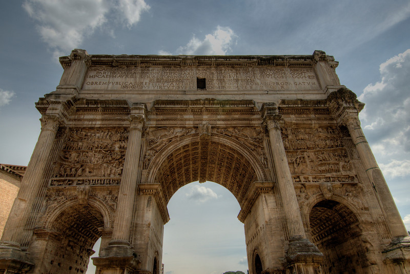 Detailed shot of the Arch of Titus in Rome, Italy