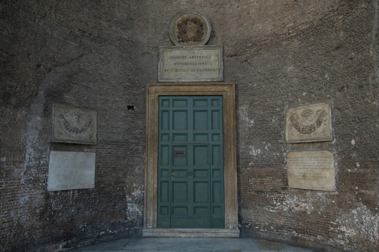 Blue vintage door at the Pantheon in Rome, Italy