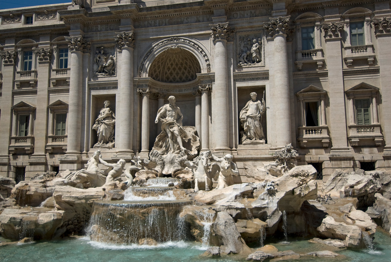 Sculptures at the Trevi Fountain in Rome, Italy