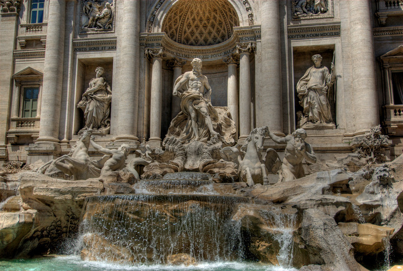 Close-up shot of the Trevi Fountain in Rome, Italy
