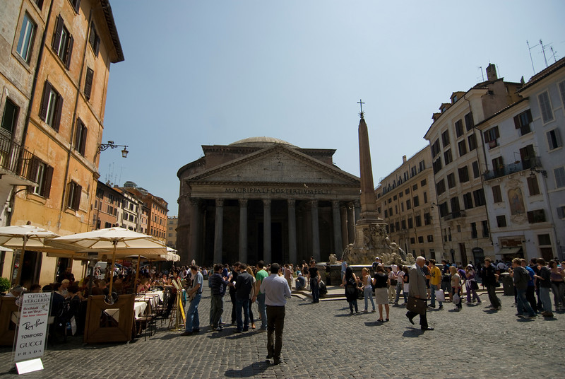 Street scene in front of Pantheon in Rome, Italy
