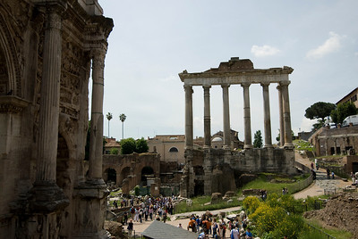 Tourists checking out the Roman Forum in Rome, Italy