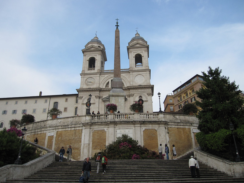 View of the The church of the Santissima Trinità dei Monti in Spanish Steps - Rome, Italy