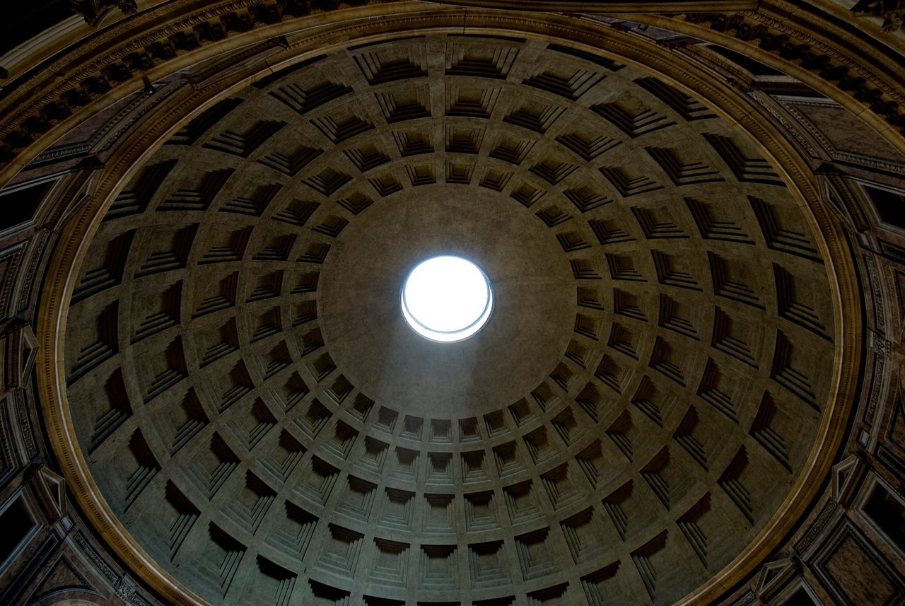 The hole at the dome in Pantheon - Rome, Italy