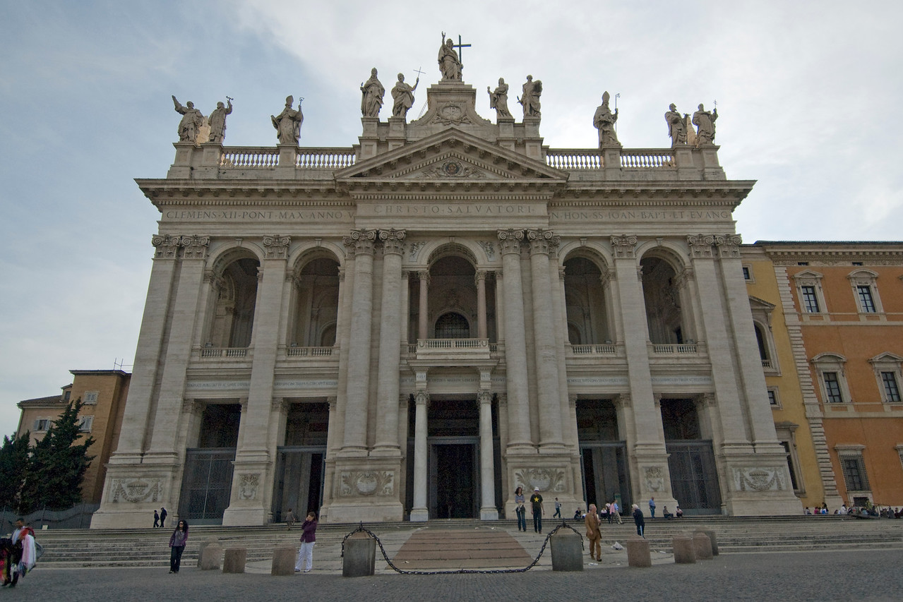 The St. Peter's Basilica facade in Rome, Italy