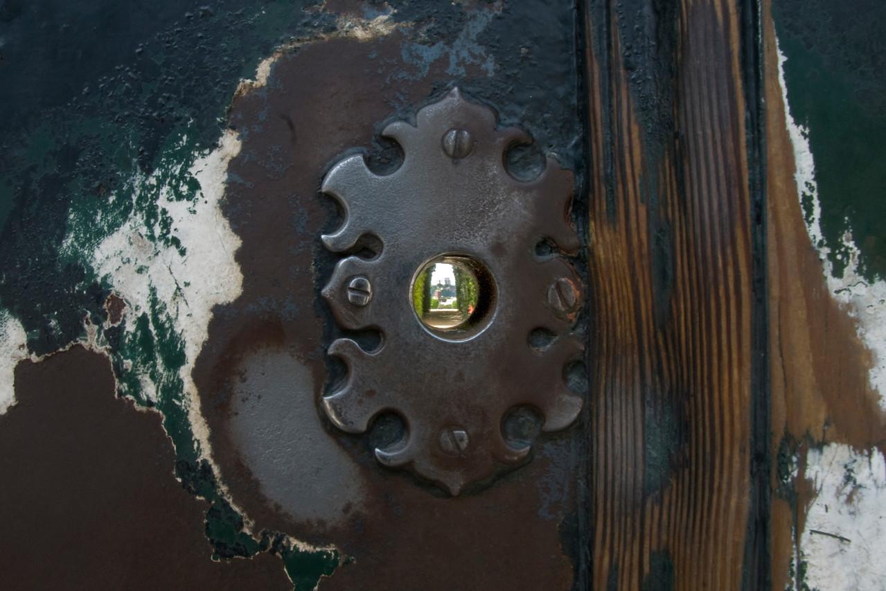 Peeking through a keyhole in Villa Malta & Garden - Rome, Italy