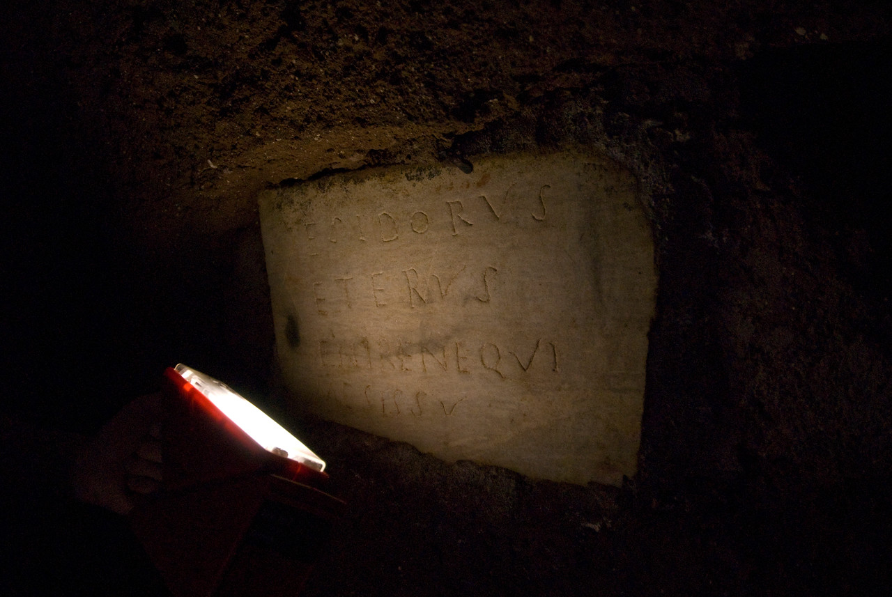 Ancient writings in an archaeological site in Rome, Italy