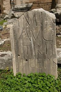 Piece of a broken ruin in Roman Forum - Rome, Italy