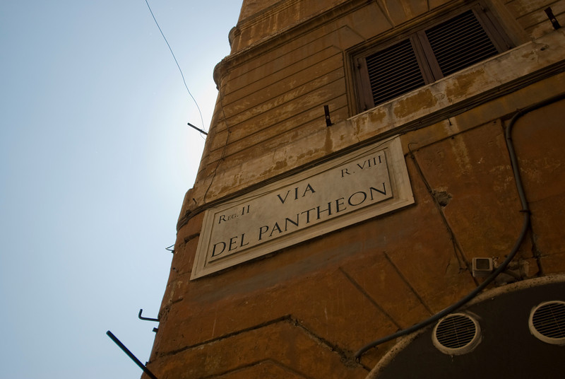 Sign at the Pantheon in Rome, Italy