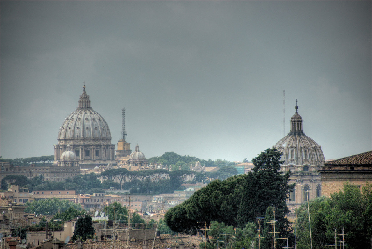 View of the domes and city skyline in Rome, Italy