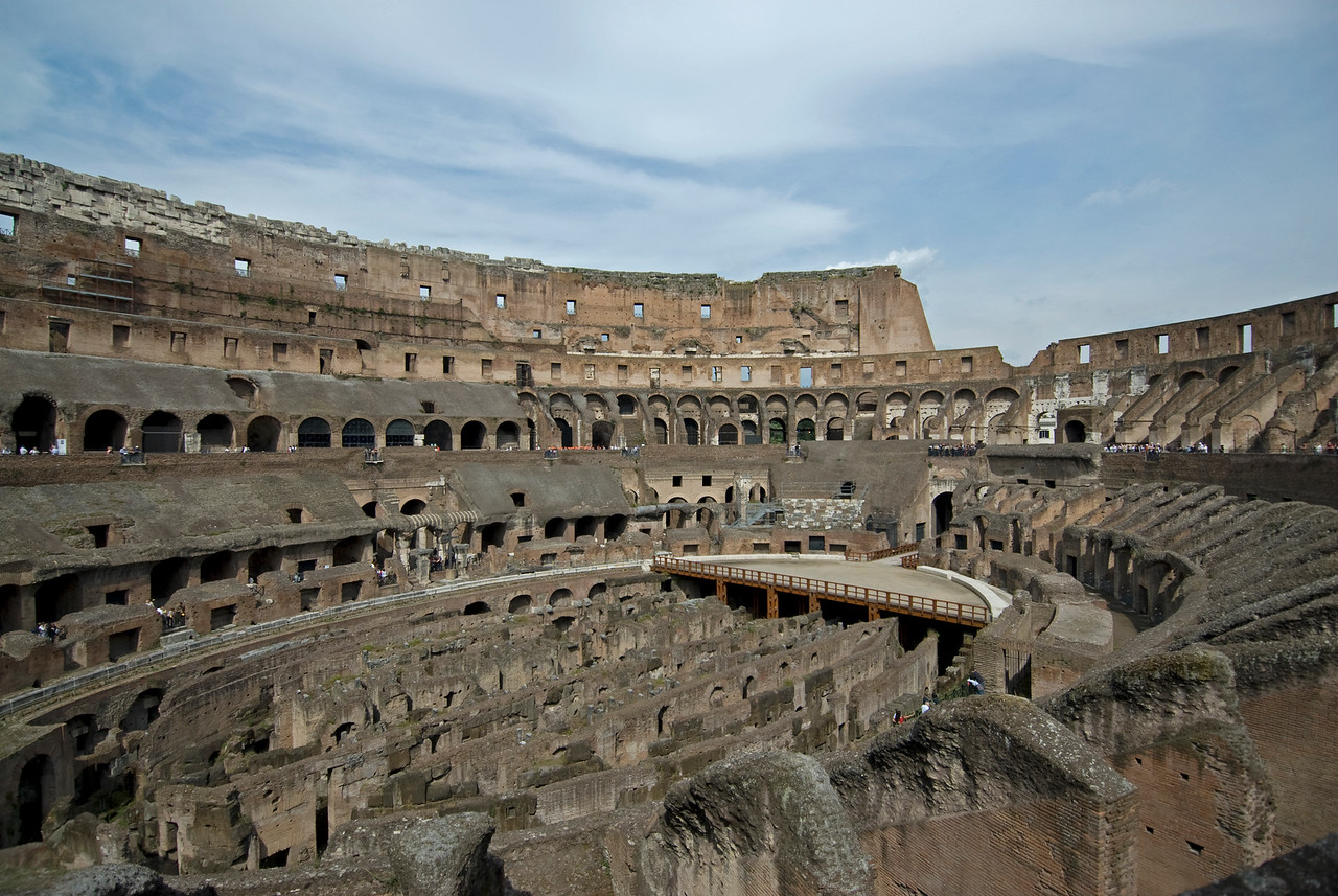 The ruins of the Colosseum in Rome, Italy