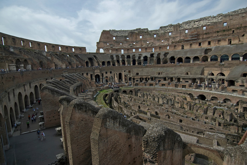 Wide shot of the ruins inside Colosseum in Rome, Italy