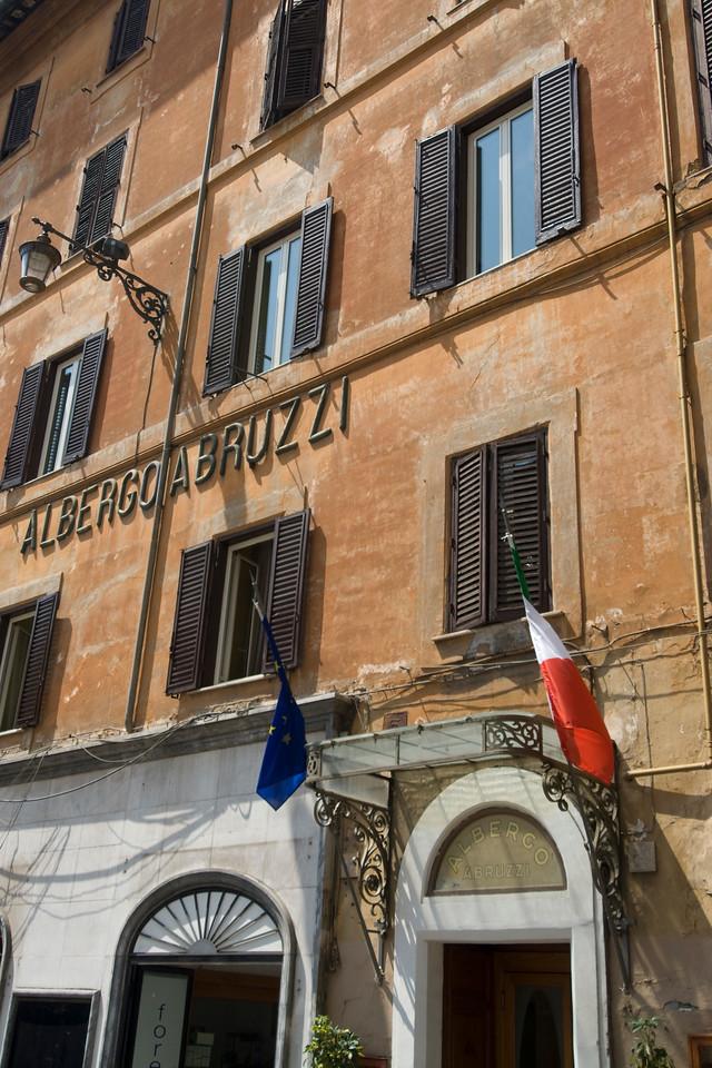 Hotel facade in Rome, Italy