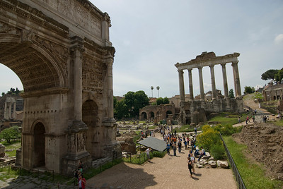 Wide shot of the grounds at Roman Forum in Rome, Italy