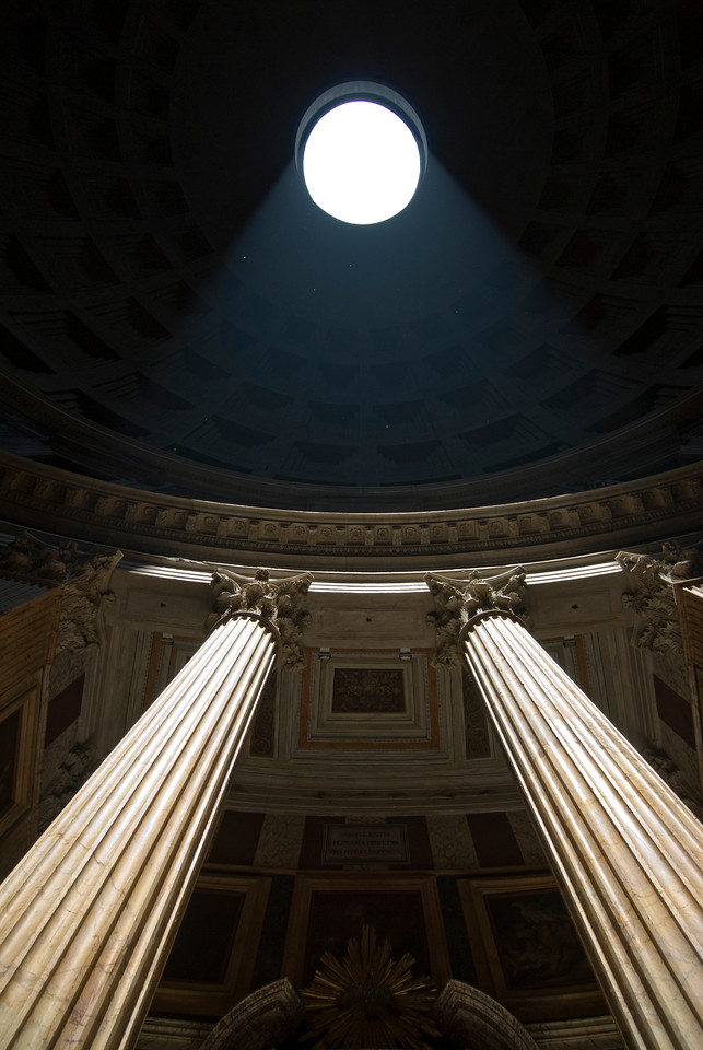Looking up the pillars inside the Pantheon - Rome, Italy