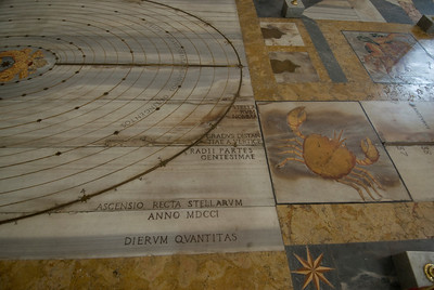 The solar system and zodiac signs on the floor of St. Mary of the Angels and Martyrs - Rome, Italy