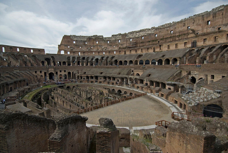 Detail of the ruins inside the Colosseum in Rome, Italy