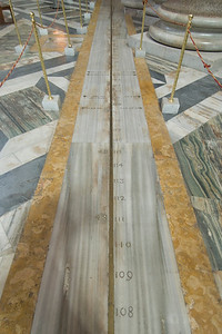 The meridian solar line made by Francesco Bianchini in Basilica of St. Mary of the Angels and the Martyrs - Rome, Italy