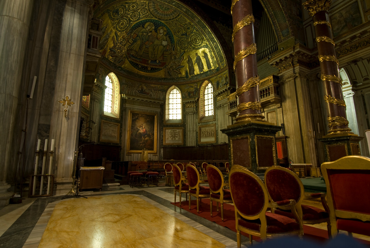 Inside the Basilica of Saint Lawrence outside the Walls in Rome, Italy