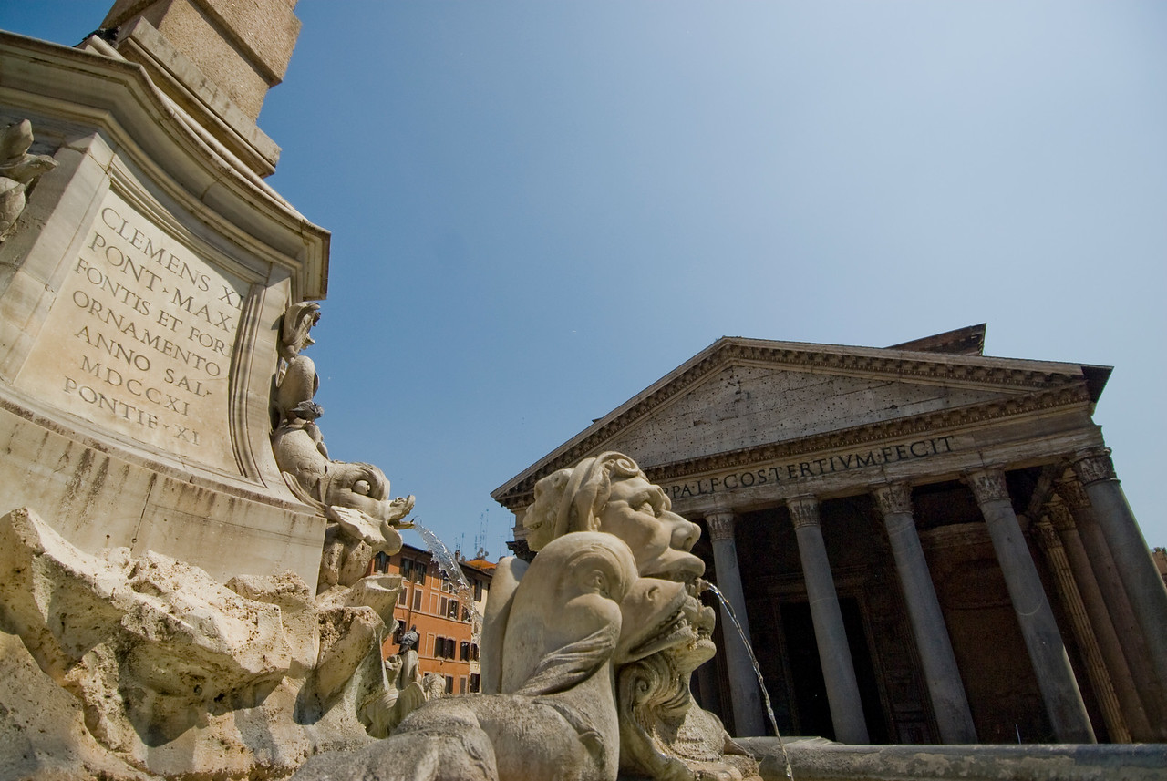 Water fountain in front of the Pantheon in Rome, Italy