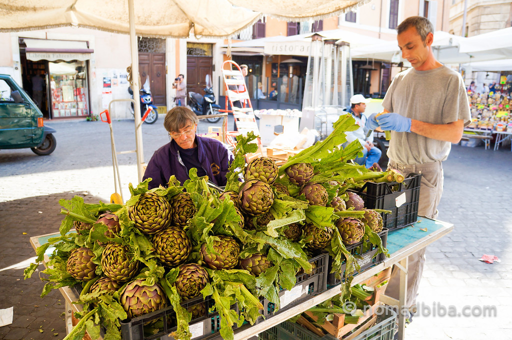 Artichokes almost as big as a human head in Rome, Italy!